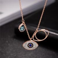 Blue Evil Eye Pendentif Colliers Glafe Out Rose Gold Turquie Femmes Titanuun Steel Bijoux Bijoux Filles Mode Strass Link Chaîne Chaîne Collier