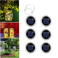 20 Guirlande LED Lumière Solaire Pour Mason Jar couvercle Insert étanche Color Changing Jardin Décorations de Noël 6pcs / set OOA7051-1