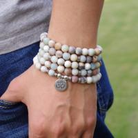 Femmes Hommes Bijoux Matte Amazonite Pierre Perles OM breloque Strand 108 Yoga Perles Mala Chakra bracelet ou un collier Cadeaux de bijoux