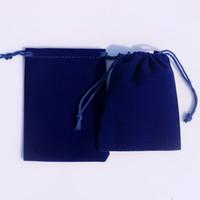50pcs / lot Royal Blue Color Velvet Sacs 9x12cm Pochettes Bijoux / MP3 Emballage Sacs Noël / Bonbons / Mariage Cadeau Sacs