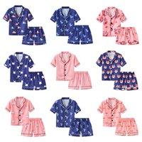 Summer Enfants Simulation Soie Pyjamas Ensemble Mince Cute Imprimé Nightwear Shorts à manches courtes Sleepwear Dessin animé Home Vêtements Costume Deux pièces M1516