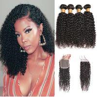8a Virgin Mink brasiliano riccio crespo umani fasci di capelli con 4x4 chiusura del merletto mongolo riccio crespo dei capelli estensioni