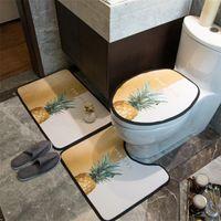 세련된 파인애플 인쇄 변기 커버 올 시즌 소프트 터치 U-시트 커버 클래식 성격 스틱 화장실 매트