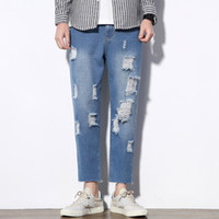 2019 New Mens Distressed Jeans Fashion Ripped Jeans Men Holl...