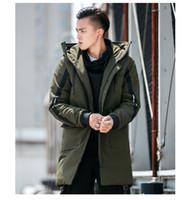 Erkek Tasarımcı Rüzgarlık Kış Rahat Hip Hop Ceket Parkas Erkek Kapşonlu Ceket Uzun Uzunluk Polyester Giyim