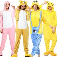 Totoro Kigurumi Pyjama pour Couple Hiver Flanelle Panda Vêtements de Nuit Onesies Kigurumi Unicornio Adultes Animal Femme Homme Pyjama