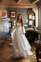 أنيقة بوهيميا الرباط شاطئ فستان الزفاف 2020 كم طويل قبالة الكتف بوهو الزفاف أثواب الزفاف رداء دي Mariee