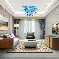 lustre de vidro foyer soprado nos azuis e brancos Torcido e camadas de vidro lâmpadas de LED de iluminação lustre de vidro Murano luzes pingente cadeia