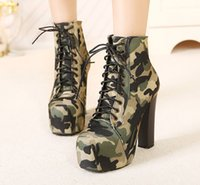 Hot Sale-Herbst-Winter-Frauen-Knöchel-Stiefel Super High Heels Lace Up Leder 4.5cm Plattform Camouflage kurze Stiefel Damenschuhe Art.-Nr. XZ-010