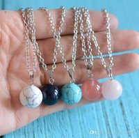 Nuevo estilo esférica de piedra natural amatista de cristal azul turquesa colgante de collar 7 estilos para hombres y mujeres Ronda ne piedra natural
