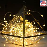 LED-snaren 2M Koper Zilver Draadverlichting Batterij Fairy Light Firefly Lights voor Kerstmis Halloween Home Party Bruiloft Decoratie EUB