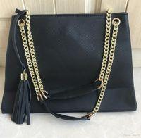 Pure Color Feminino Mulheres Handbag Shoulder alta qualidade Moda Bolsa de Ombro Preto Pu saco de couro cadeia de ouro corpo Cruz Bag