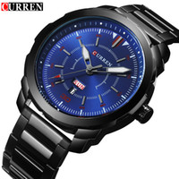 Top Brand CURREN Men Watch Fashion Minimalist Black Stainles...