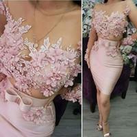 Mini rosa manga comprida vestidos de noite curtos 2020 laço applique frisado 3d flores sereia vestidos de noite robe de soíree
