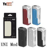 정통 Yocan Uni Box Mod 650mAh 예열 VV 가변 전압 배터리 두꺼운 오일 카트리지 용 마그네틱 510 어댑터가있는 모든 직경 맞춤