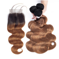 Brown Ombre Brazilian Body Wave Human Hair Bundles with Lace...