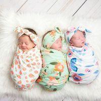 Ins Wraps Couvertures Enfants Mousseline Swaddles Nursery Literie Nouveau-Né Imprimé Floral Swaddle + Bunny Headband deux pièces ensembles