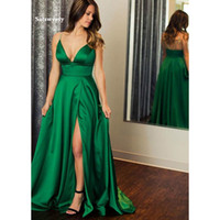 2020 Emerald Green Long Prom Vestidos Sexy V-neck High Slit length Simple Satin Vestido De Festa Da Noite Vestidos de noite