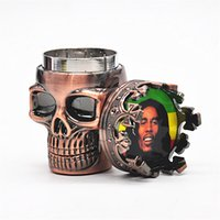 Molinillos de humo estilo Niza 2 capas punk fantasma cabeza del cráneo del metal del tabaco Grinder a base de plantas de hierbas moleta de la mano de fumador Accesorios para el regalo