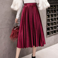 Velvet Large Swing Long Pleated Women Skirts Plus Size Skirt...
