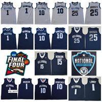 빌라 노바 와일드 캣 대학 10 Donte DiVincenzo 뉴저지 남자 농구 25 Mikal 교량 1 잘렌 브 런슨 저지 네이비 블루 화이트 유니폼