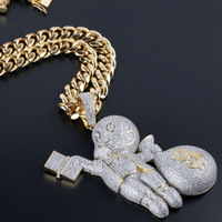 Hip Hop Bling Ice Out AAA CZ Stone Gold Color US Dollar Mone...
