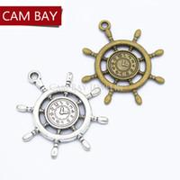 30 unids Antiguo Reloj Náutico Timón Encantos de Metal Encantos de Aleación de Zinc de Moda Ancla Colgante de La Joyería Del Encanto 39 * 35mm H48