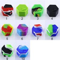 53x30mm Silikon DAB-behållare Mini Förvaringslåda Hexagon Bee Boxes Geometri Rökning Verktyg Tillbehör Färgglada Heta försäljningar 3 5xm D2