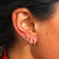 Orecchino a cerchio Huggie arcobaleno pavimentato cubic zirconia gioielli moda cz per le donne 925 orecchini in argento sterling minimal minimalissimo