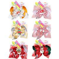 6 pz / lotto 7 '' Christmas jojo siwa grande morbido pelle jojo bows simpatico glitter patch capelli bows boutique clip per capelli accessori per capelli