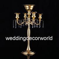 Yeni stil Masa üstü çiçek kase kristal mumluk 5 arms şamdan düğün centerpieces için masa merkezi decor00091