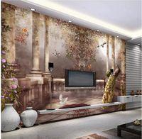 Tapete für Wände 3 d für Wohnzimmer Europäische pastorale Rokoko Römische Säule dreidimensionales Ölgemälde TV Hintergrundwand
