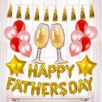 Feliz Día del Padre Conjunto de globos Carta Globo de película de aluminio Coloridos globos de látex Decoración del partido Globos de aire inflables Juguete VT