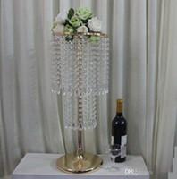 10 adet Akrilik Kristal Düğün Çiçek Top Tutucu 60 cm Masa Centerpiece Vazo Standı Kristal Şamdan Düğün Dekorasyon Altın Gümüş renk