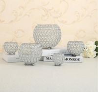 Kristal Tealight Mum Fener Sahipleri Cam Metal şamdanlar Düğün Masa Centerpieces Noel Cadılar Bayramı Ev Vazolar Dekor