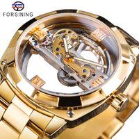 투명한 황금 기계 시계 망 스팀 펑크 해골 자동 기어 자동 기어 스테인레스 스틸 밴드 시계 몬트 테