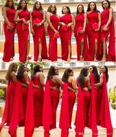 2020 저렴한 아랍어 레드 인어 신부 들러리 드레스 어깨 하나 사이드 분할 층 길이 긴 웨딩 게스트 드레스 명예 드레스 포멀 메이드