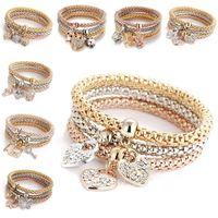 13 style cristal élastique bracelet ensemble coeur serrure à clé couronne arbre de vie crâne éléphant hibou charme bracelet pour femmes hommes mode bijoux en vrac