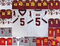 USC Trojans Vintage costurado mens Jersey Reggie Bush 32 OJ Simpson 14 Sam Darnold 9 Kedon Slovis 43 Troy Polamalu 55 Junior Seau