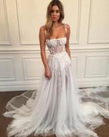 2020 Sexy Vintage Berta Tulle Vestidos De Noiva com Long Train Lace Appliqued Crystal Vestidos De Noiva Elegante Jardim Country Wedding Dress