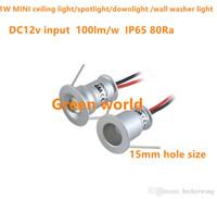 1W rotondo MINI luce di soffitto / cabnet / downlight / riflettore / rondella della parete della luce di illuminazione DC12V IP65 angle30D / 120D 15mm dimensioni foro 9pcs / lot
