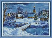 Мир ледяного и снежного декора комнаты, роспись, ручная вышивка крестиком, наборы для рукоделия, подсчет, печать на холсте DMC 14CT / 11CT