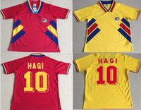 nouveaux maillots de football 1994 Roumanie 6 Chiricheş 10 HAGI MAXIM Accueil Red Road maillot jaune 94 Football Uniforms Shirt
