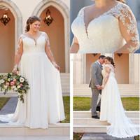 Talla grande A Línea Vestidos de novia con cuello en V apliques Encaje Vestidos de boda Ilusión Manga larga Boho Vestido nupcial Vestido Noiva