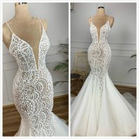 Mermaid Lace Beaded Arabic Wedding Dresses Spaghetti Sexy Vi...