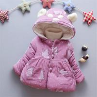 Invierno New Childrenwear Outerwear Girls Estilo de ocio Down Chaqueta Baby Girls Dibujos animados Patrón de grueso Algodón Capa de ropa