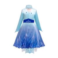 Schneekönigin 2 II Cosplay Fancy Princess-Kleid für Mädchen Schneeflocke Mantel Kostüm Halloween Party Kinder Kleider + Mantel + Hosen 3pcs / set