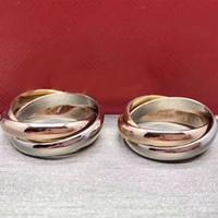 패션 세 가지 색상 로즈 골드 러브 반지 무료 배송 남성 여성 패션 심플 스타일 반지에 대한 커플 링을 세 링
