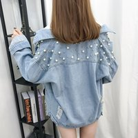 Boyfriend Jeans Jacket Women Coat 2019 New Fashion Summer Streetwear Giacca di jeans con perline allentate Abbigliamento da donna Outwear