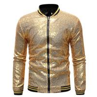 Giacca da uomo Primavera Autunno Moda Giacca oro Cappotto Abbigliamento da  ballo Nightclub Paillettes Hip Hop af61d3078c3